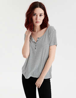 Ae Short Sleeve Striped Jersey T Shirt by American Eagle Outfitters