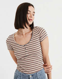 AE Striped Henley T-Shirt