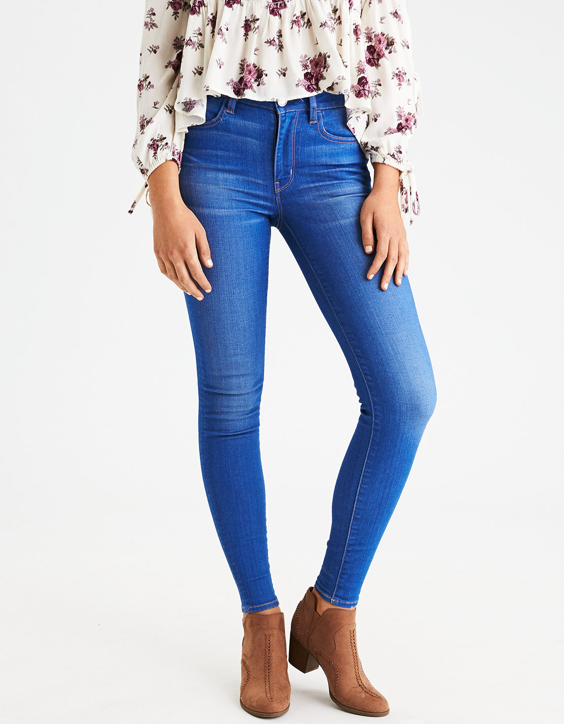 AE Denim X High-Waisted Jegging Sparkling Sapphire | American Eagle Outfitters