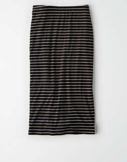 AE Studio Striped Bodycon Midi Skirt
