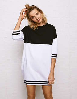 Don't Ask Why Colorblock Sweatshirt Dress by American Eagle Outfitters