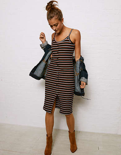 549be3a9a3f Don t Ask Why Button Front Ribbed Midi Cami Dress