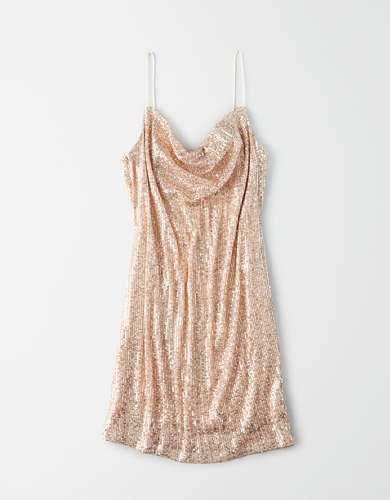 AE Studio Sequin Cowl Neck Dress