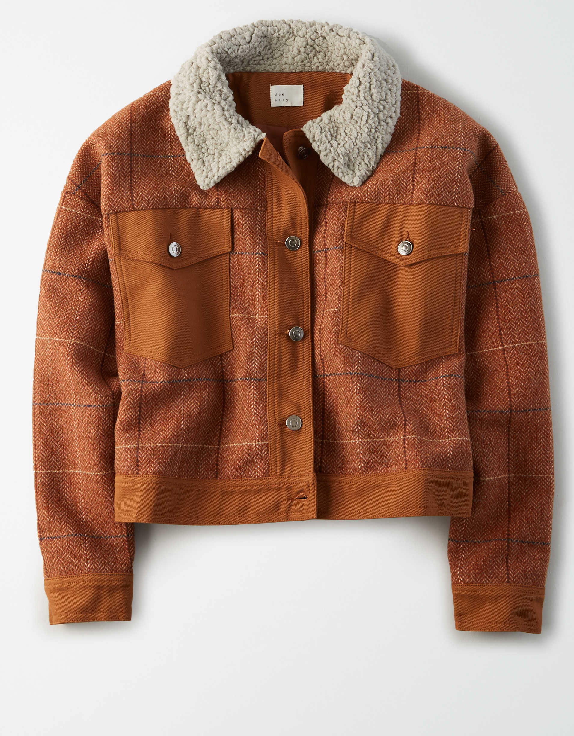 AE Studio Plaid Sherpa Collar Jacket
