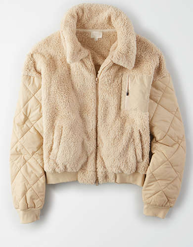 AE Studio Fuzzy Sherpa Quilted Sleeves Jacket