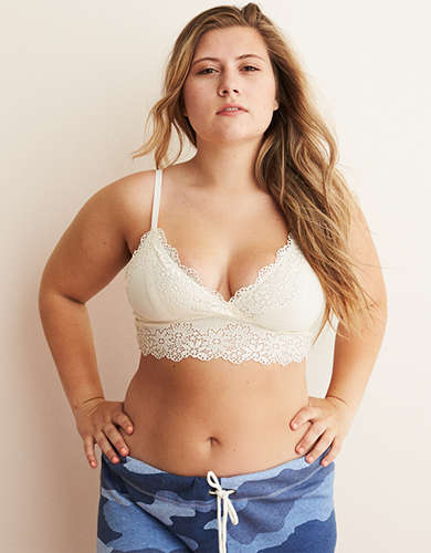 Aerie Ribbed Lace Plunge Bralette