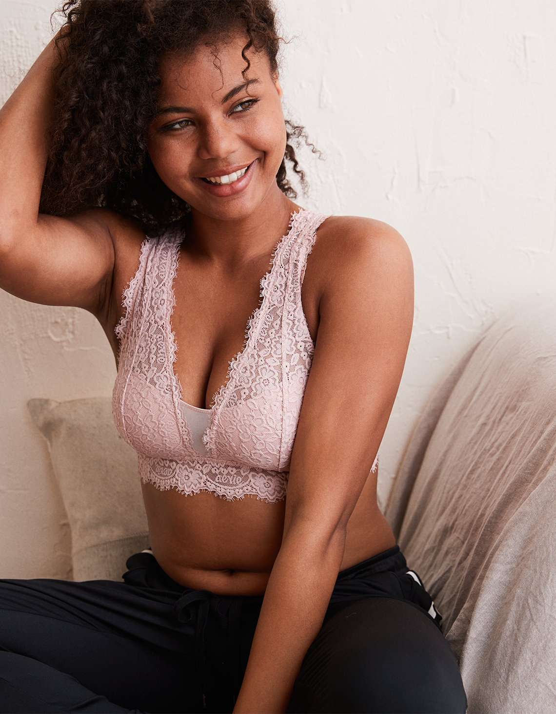 f88ff43599 Aerie Romantic Lace Plunge Bralette. Placeholder image. Product Image