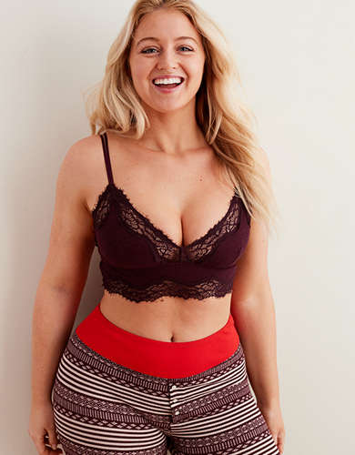 227096772d Aerie Ribbed Holiday Lace Longline Bralette