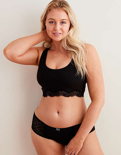 Aerie Ribbed Holiday Lace Crop Bralette