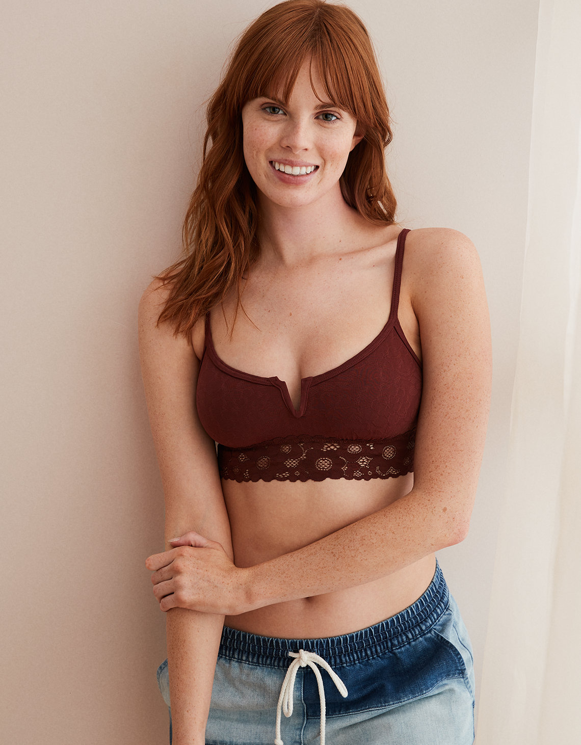 Aerie Daisy Lace V-Front Bralette