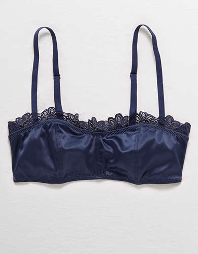 Aerie Satin Lace Trim Bralette