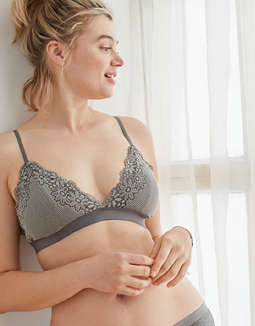 Aerie Ribbed Lace Padded Bralette