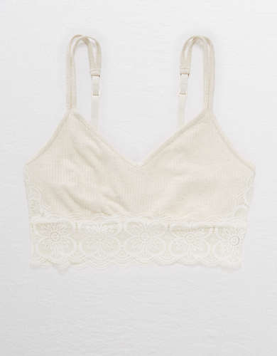 Aerie Ribbed Endless Lace Bralette