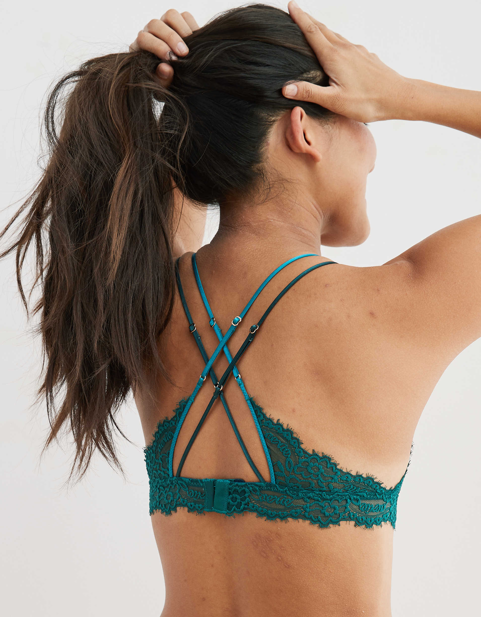 Aerie Eyelash Lace Strappy Triangle Bralette
