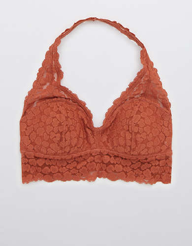 Aerie Animal Lace Padded Halter Bralette
