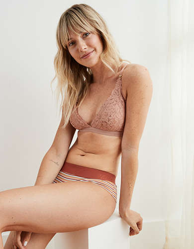 Aerie Palm Lace Plunge Padded Bralette