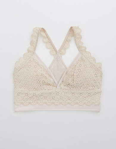 Aerie Queens Lace Mesh Padded Racerback Bralette