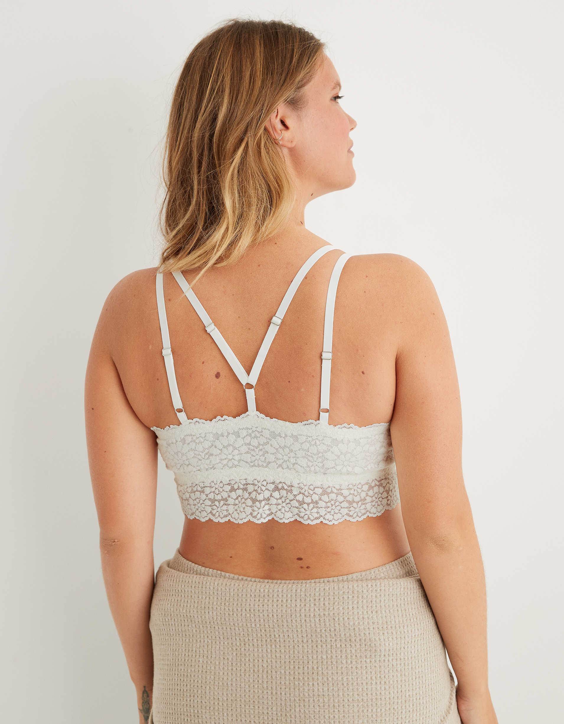 Aerie Sugar Cookie Lace Padded Strappy Bralette