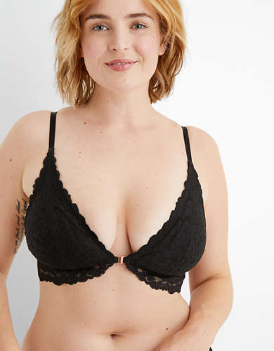 Aerie Animal Lace Padded Plunge Bralette