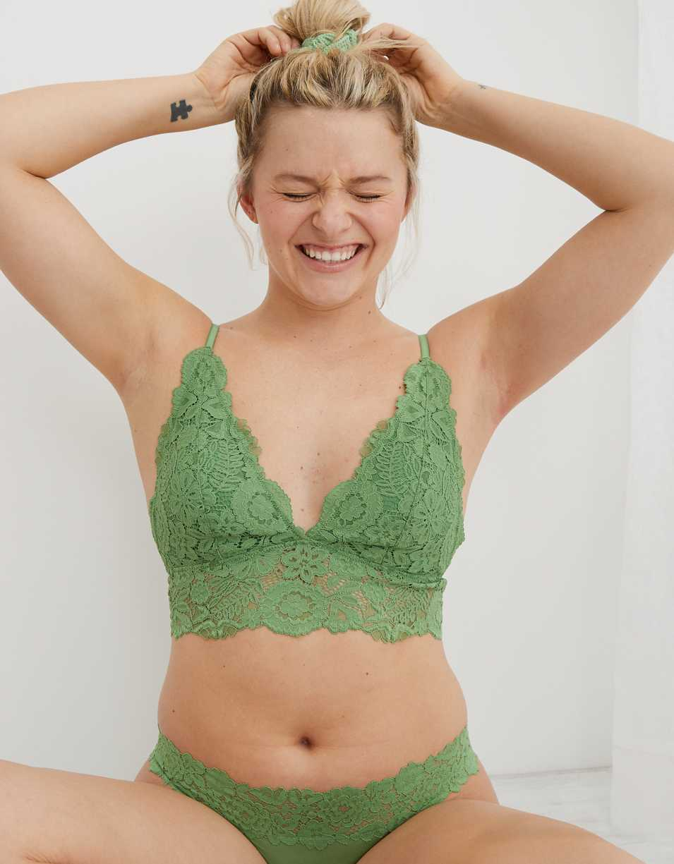 Aerie Bluegrass Lace Padded Plunge Bralette