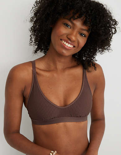 Aerie Striped Mesh Scoop Bralette