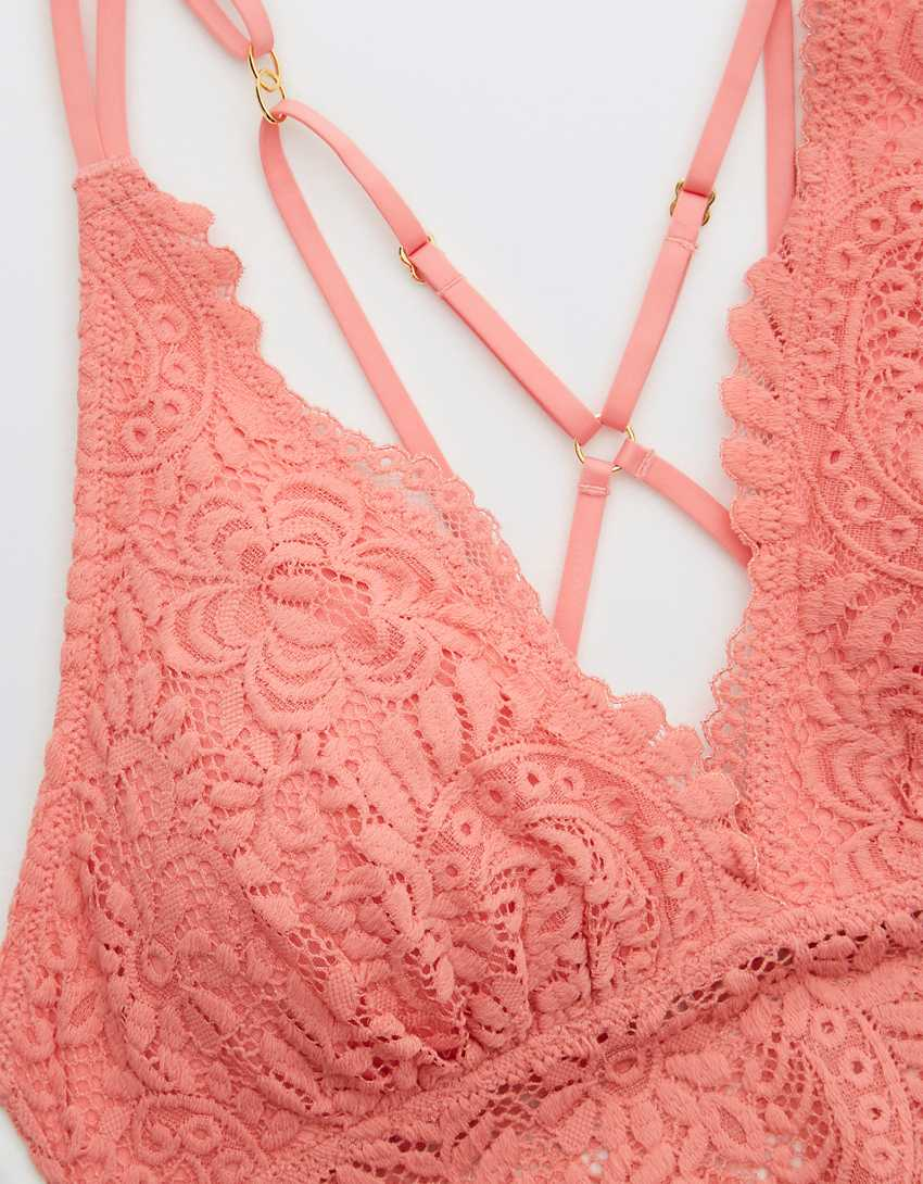 Aerie Far Out Lace Strappy Padded Plunge Bralette
