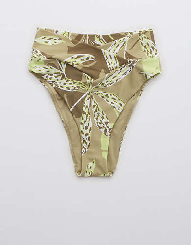 OFFLINE Real Me Printed Crossover High Cut Cheeky Bikini Bottom