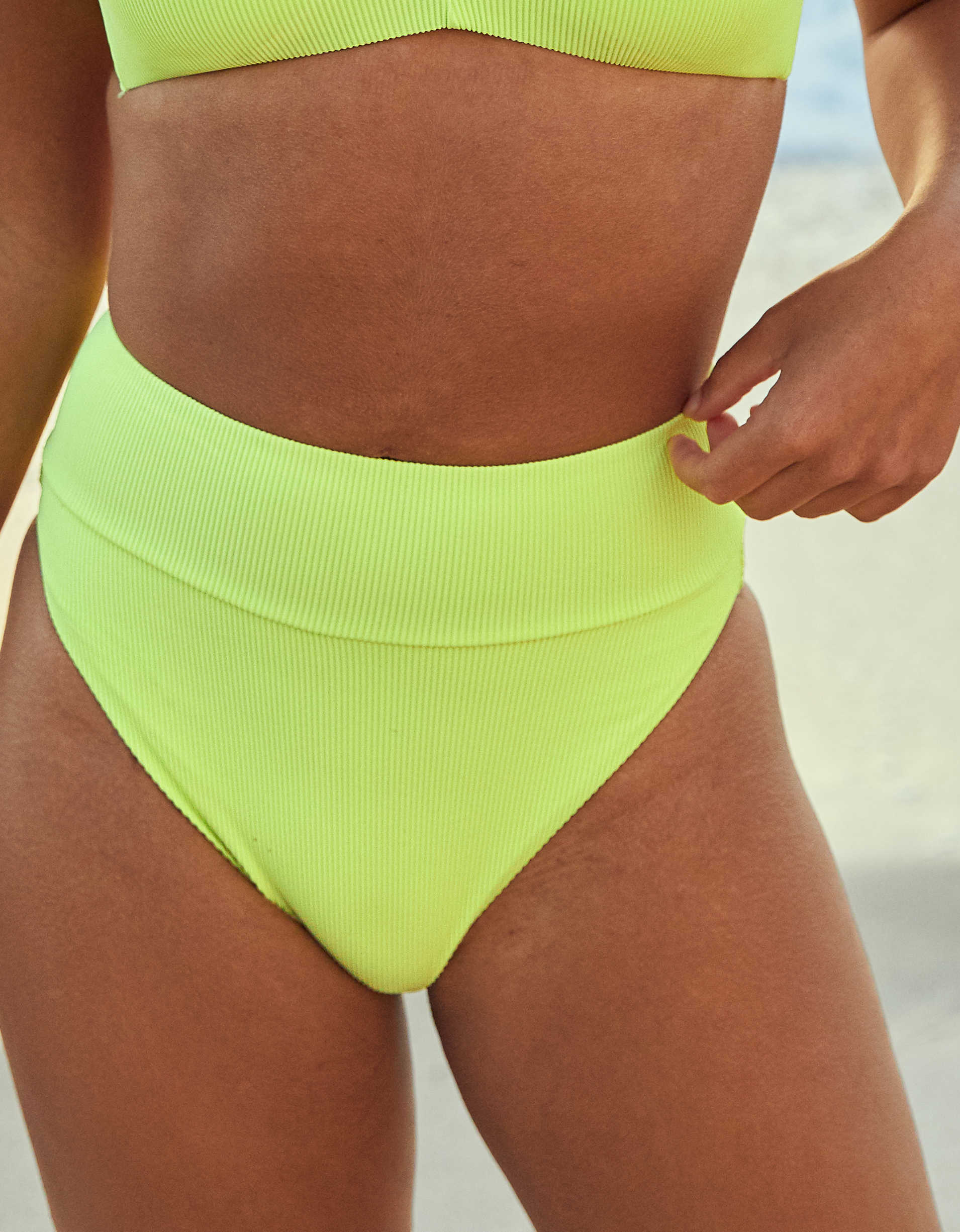 Aerie Ribbed High Cut Cheeky Bikini Bottom