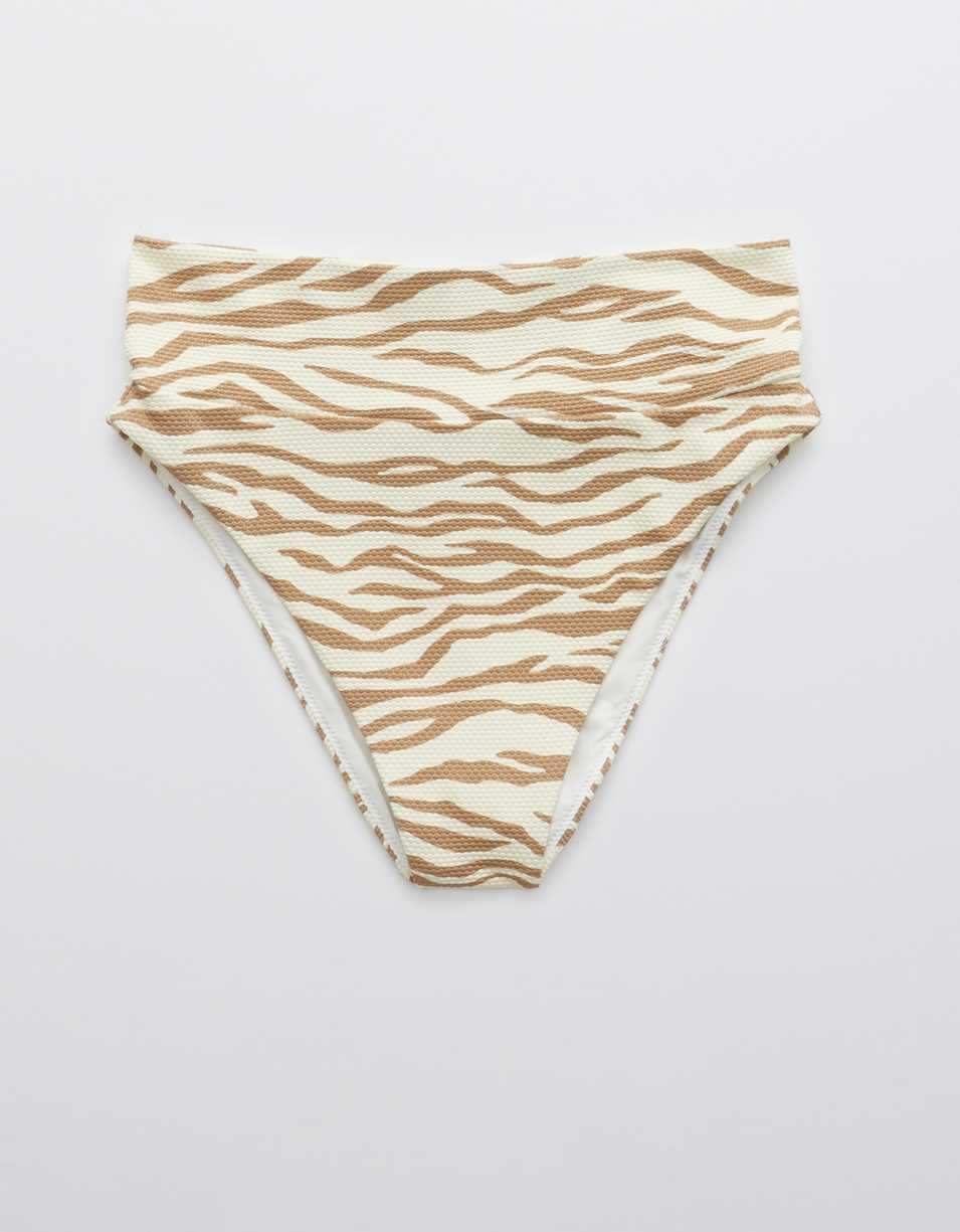 Aerie Animal Print Pique High Cut Cheeky Bikini Bottom