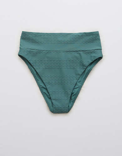 Aerie Jacquard High Cut Cheeky Bikini Bottom