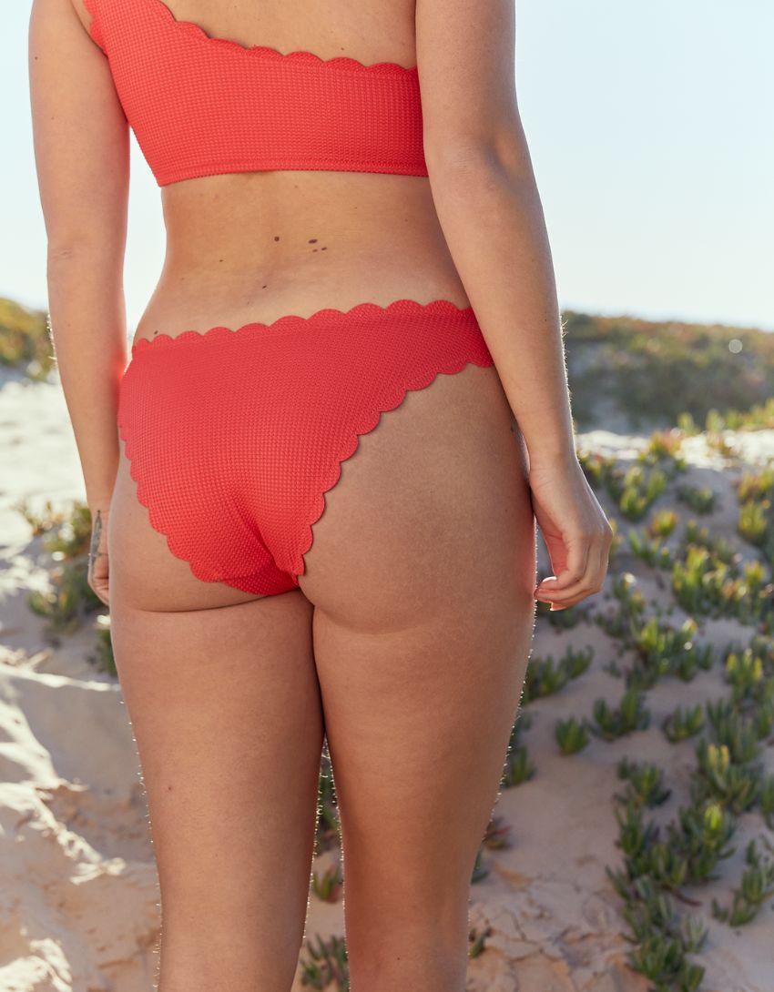 Aerie Waffle Scalloped Super High Cut Cheekiest Bikini Bottom