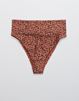 Aerie Leopard High Cut Cheeky Bikini Bottom