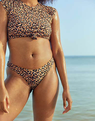 Aerie Leopard Super High Cut Cheekiest Bikini Bottom