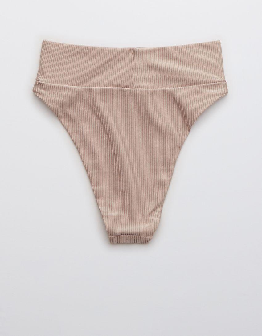 Aerie Ribbed Shine High Cut Cheeky Bikini Bottom