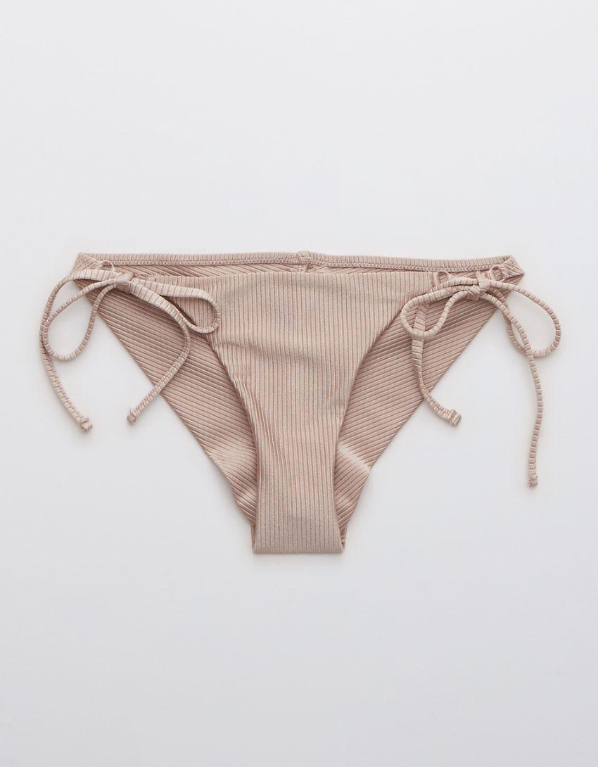 Aerie Ribbed Shine Tie Cheekier Bikini Bottom