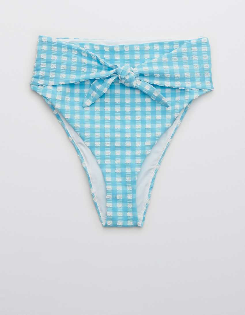 Aerie Gingham Tie High Cut Cheeky Bikini Bottom
