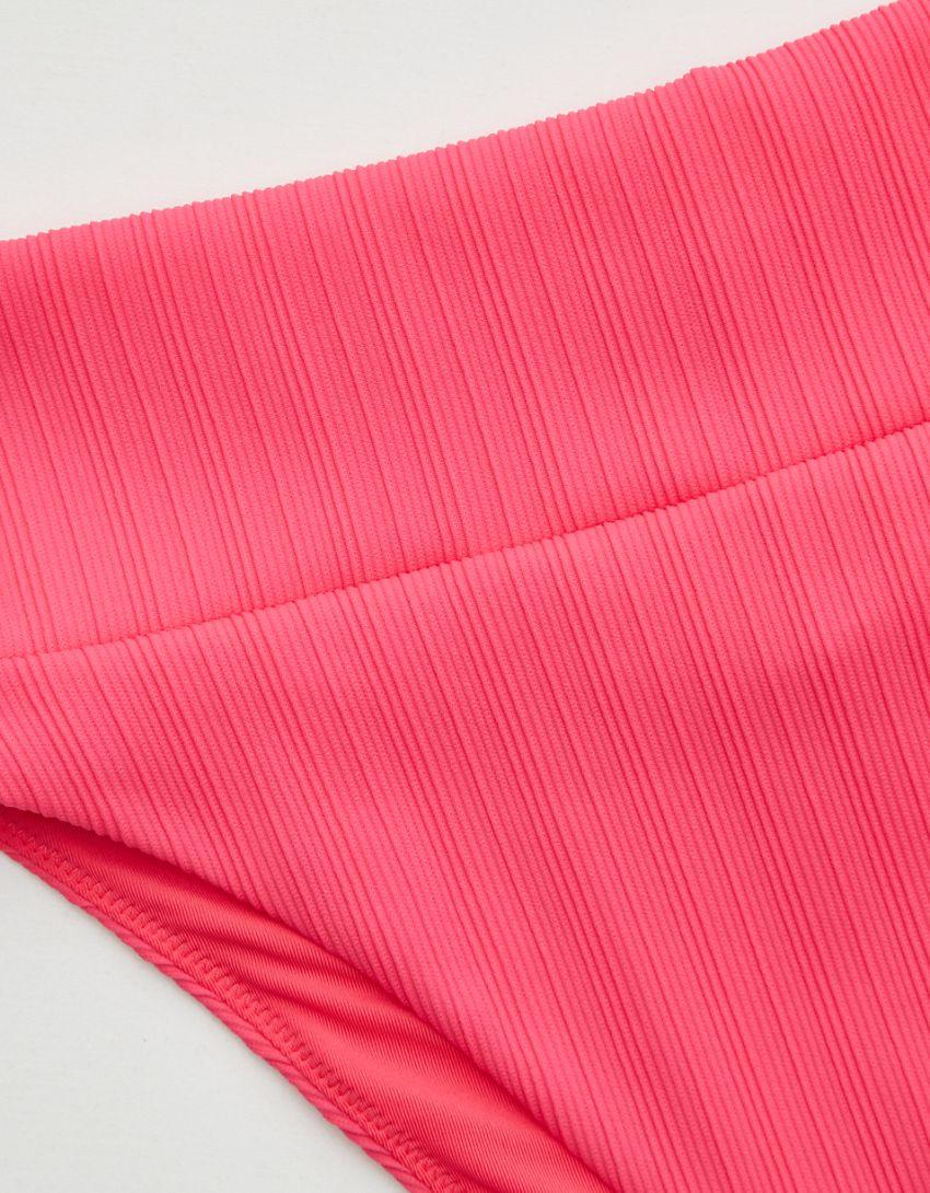 Aerie Striped Ribbed High Cut Cheeky Bikini Bottom