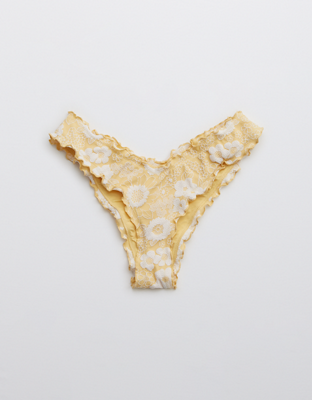 Aerie Jacquard Floral Cheekiest Bikini Bottom