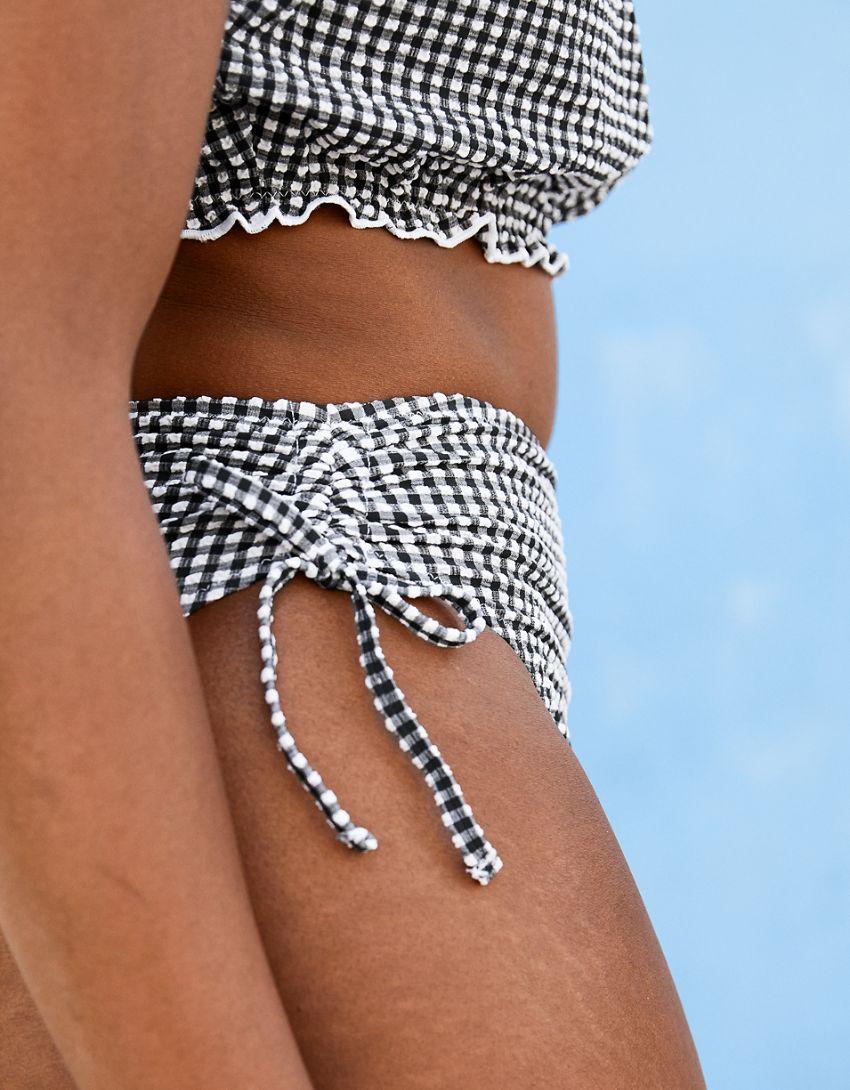 Aerie Gingham Ruched High Cut Cheeky Bikini Bottom