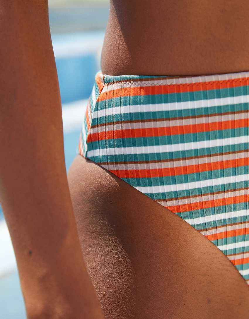 Aerie Striped Ribbed 90s High Cut Cheeky Bikini Bottom