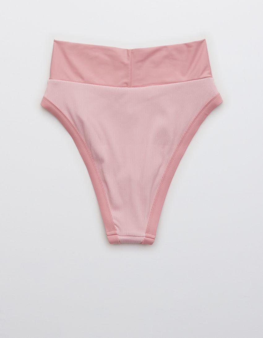 Aerie Ribbed Binding Crossover High Cut Cheeky Bikini Bottom