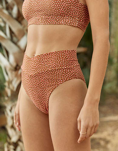 Aerie Printed Crossover High Cut Cheeky Bikini Bottom