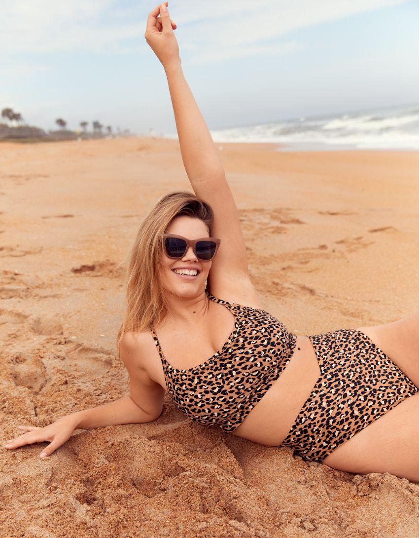 Aerie Leopard Crossover High Cut Cheeky Bikini Bottom