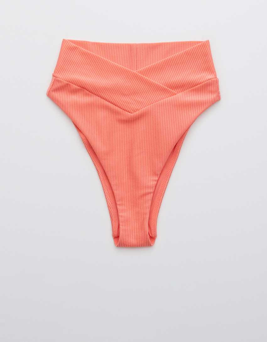 Aerie Ribbed Shine Crossover High Cut Cheeky Bikini Bottom