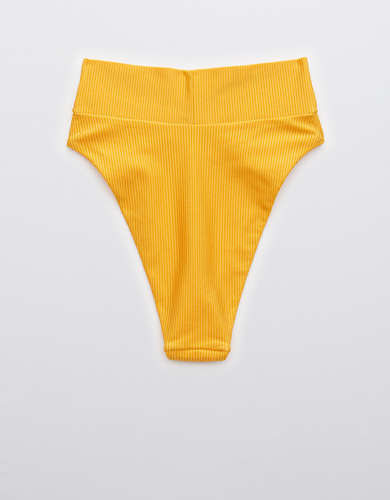 Aerie Ribbed Shine Crossover High Cut Cheeky Bikini Bottom