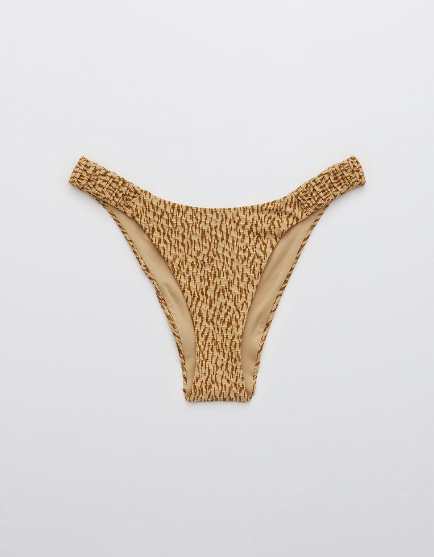 Aerie Jacquard Scrunchie Super High Cut Cheekiest Bikini Bottom
