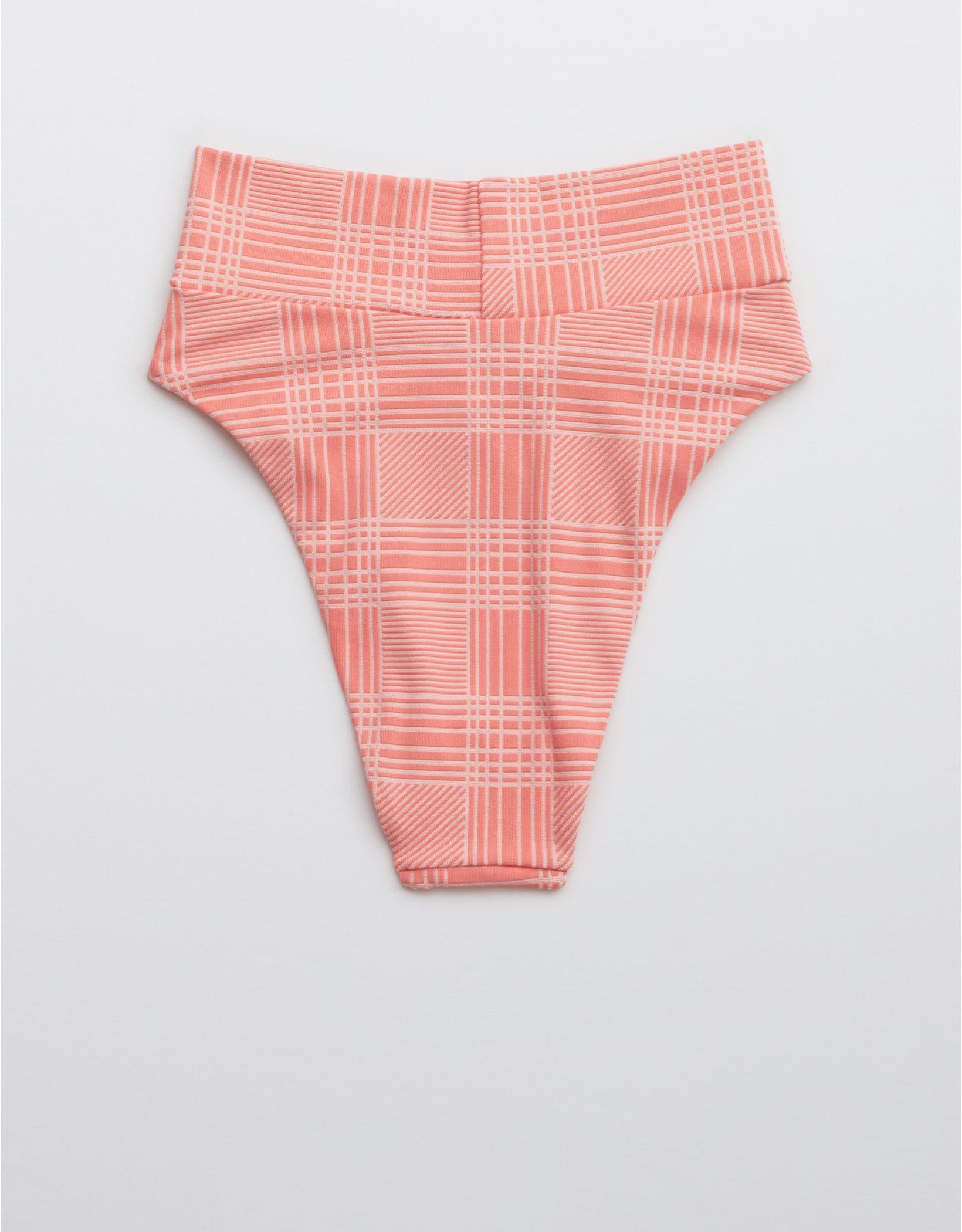 Aerie Jacquard Crossover High Cut Cheeky Bikini Bottom