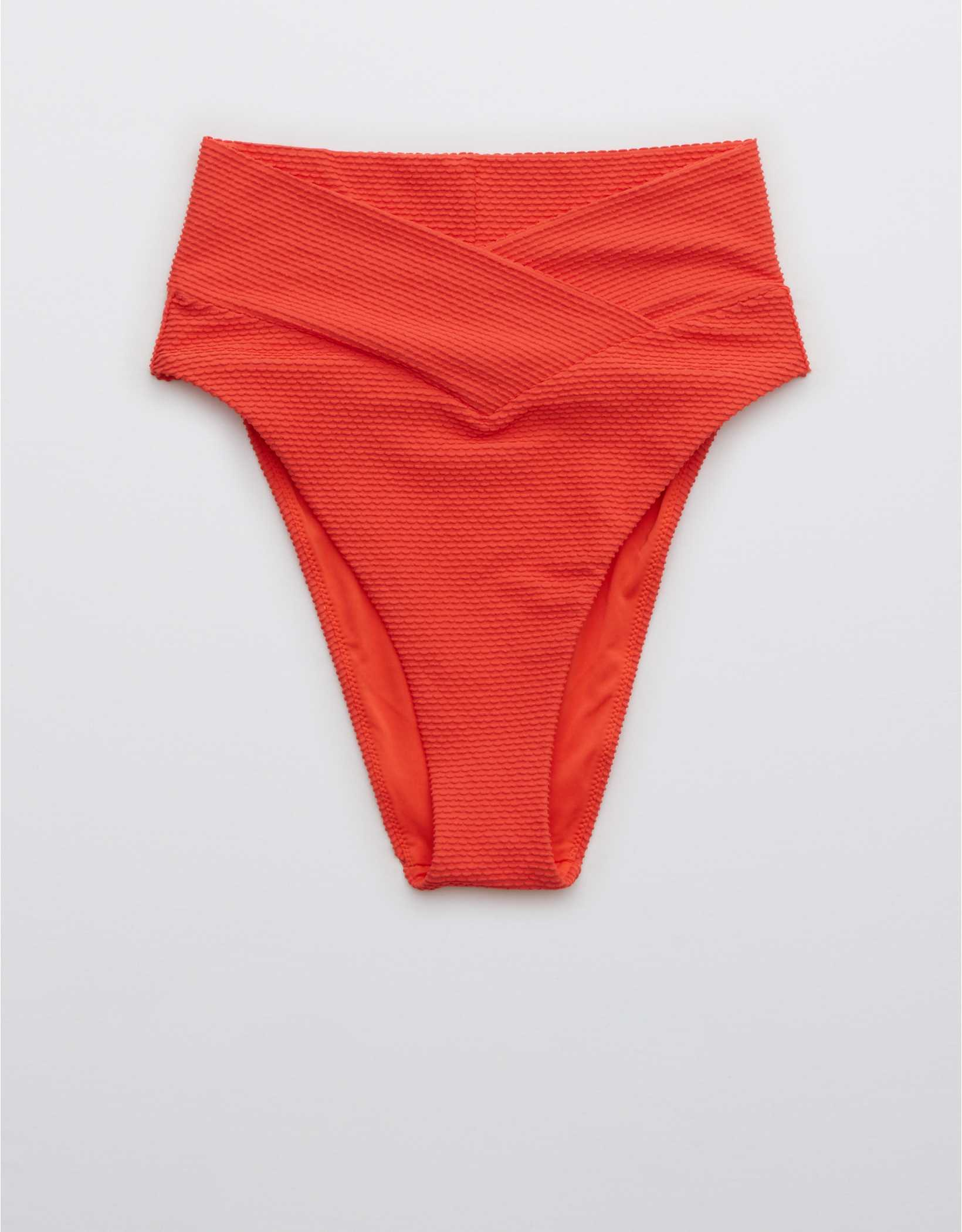 Aerie Textured Crossover High Cut Cheeky Bikini Bottom