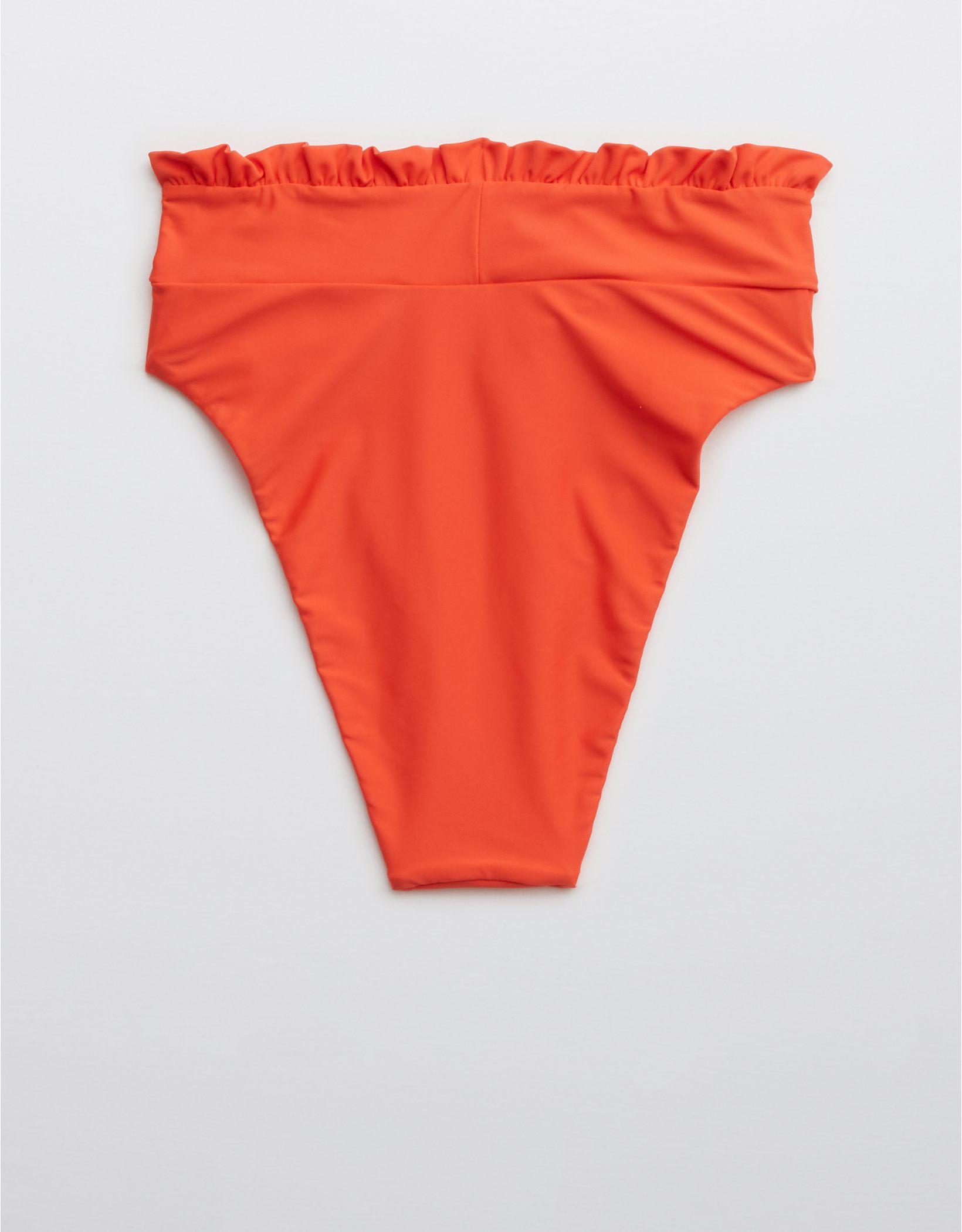 Aerie Ruffle Crossover High Cut Cheeky Bikini Bottom