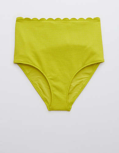 Aerie Waffle Scalloped High Waisted Bikini Bottom